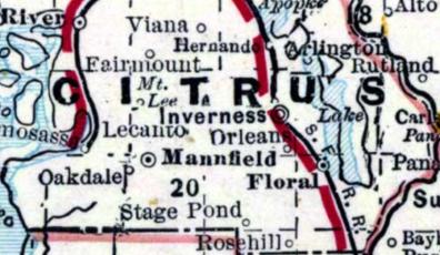 Citrus County Map 1890's
